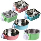 Stainless Steel Dogs Cats Water Food Feeder Bowl Cage Hanging Fixed Cup Dish