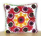 "24"" Square Suzani Cushion Cover 18"" Embroidery Pillowcase 16"" Pillow Cover D13"