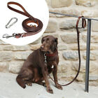5/6ft Strong Leather Dog Leash Heavy Duty Walking Lead Attachment with Carabiner