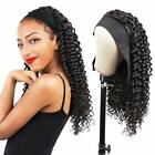 Afro Black Deep Wave Headband Wig Human Hair Full Machine Made Wig With Headband