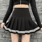 Womens Girls Gothic Black Pleated JK Skirt A Line High Waist Tutu Cosplay Dress