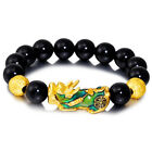 Feng Shui Black Obsidian Beads Bracelet Attract Wealth Good Luck Bangle pixiu