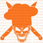 Chef Skull Vinyl Decal Cooking Crossed Knives Sticker Chef's Hat