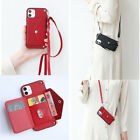For Iphone 12 Pro Max Women Crossbody Wallet Card Slot Strap Leather Case Cover