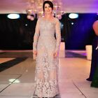 Gray Lace Mother of the Bride Dress Plus Size Long Sleeves Pewter Custom 2-26W