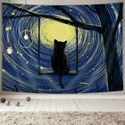 Fantasy Animal Cat Moon and Stars Tapestry Galaxy Tapestry Wall Hanging for Room