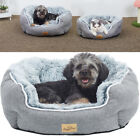 Long Flannel Cat Calming Basket Plush Dog Bed Round Self-Warming Pet Nesting Bed