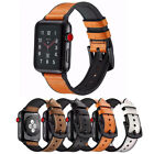 Silicone Genuine Leather Watch Band for Apple iWatch SE 6 5 4 3 2 38/40/42/44mm