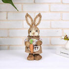 32cm Straw Rabbit With Pick Easter Bunny Statue Ornament Home Party Decoration