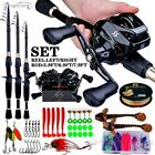 COMBO Casting Fishing Set 5-Section Carbon Rod + REEL & CASTING Accessories