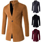 Mens Button Stand Collar Wool Blend Trench Outwear Slim Fit Coat Windbreaker
