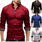 Mens Long Sleeves Dress Shirts Casual Luxury Business Slim Fit Multicolor Shirts