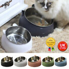 Pet Cat Kitten Feed Bowl Raised Food Stand Tilted Elevated Stainless Steel UK