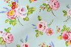 ENGLISH ROSES NEW PVC COTTON OILCLOTH WIPEABLE TABLECLOTH SEAFOAM - all sizes