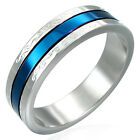Blue Anodized Ctr Steel Ring Szs  5.75-13