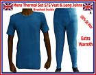 Mens Thermal Brushed SET BLUE Vest & Long Johns WARM