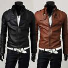 P217 New Mens Qualit Slim Fit Faux Leather Jackets Coats Black Brown