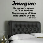 LARGE JOHN LENNON IMAGINE QUOTE BEDROOM WALL STICKER TRANSFER STENCIL DECAL