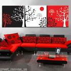 FRAMED Abstract Tree Modern Decor Canvas Prints 3 Panels Set Choice Of Clock