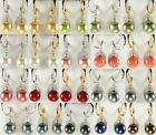 12mm white/pink/red/gray/black/green/yellow shell pearl 18 KGP earrings