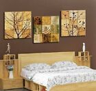 Tree Leaves & Branches Modern Decor Wall Clock On Triptych Canvas Prints FRAMED