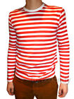 Mens Stripey t-shirt tee red white nautical indie mod Top striped preppy jumper