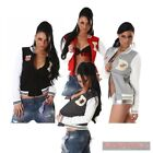 New Womens Jacket College Sexy Girls Sports Top Fleece Warm Size S M L Grey Red