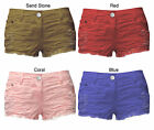 LADIES RIP TORN FRAYED EFFECT DENIM HOT PANTS SHORTS 8 10 12 14 BLUE RED CORAL
