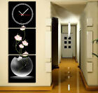 Flowers In Fish Bowl Canvas Prints Set Of 3 With Clock Framed & READY TO HANG