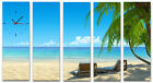 Beach Chairs Under Palm Trees Modern Decor Wall Clock Set Of 5 Canvases FRAMED