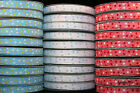 """25m Reel - Blue and Pink Dots - Grosgrain Ribbon - 10mm (3/8"""") width"""