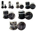 1 x Black & White Zebra Marble Stone Single Flared Ear Plug Choose Your Size
