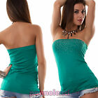 Top maglia fascia donna tube tubo bustino bustier corpetto strass AS-2200