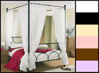 VOILE FOUR(4) POSTER TAB TOP BED CURTAIN SET - 8 PANELS - MULTIPLE COLOURS