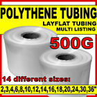 Layflat polythene poly tubing tube *ALL SIZES & QTYS* clear- 500 GAUGE 168M roll