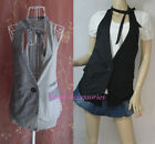 Women Girl Stylish Tie Neck Plaid Academy Casual Street Vest Top Waistcoat