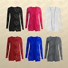 Ladies Long Sleeves Drop Pocket Boyfriend Cardigan Open Casual Womens Tops 8-16