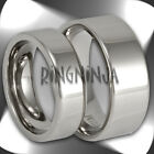 His and Her Pipe Cut Titanium Wedding Band Set Mens and Womens Matching Ring Set
