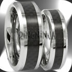 His and Her Bands Tungsten and Carbon Fiber Wedding Ring Set Engraving Available