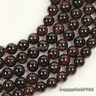 "Natural Garnet Gemstone Round Ball Loose Beads 15.5"" 4mm,6mm,8mm,10mm"