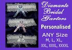 sexy white lace BRIDAL GARTER diamante heart PERSONALISED S M L XL XXL XXL new