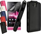 Sony Xperia U  Premium PU Leather Flip Case Cover in Black Blue Pink Red White