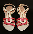 Ladies Womens Elegance Buckle Fastening Red and Cream Sandals