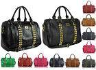New Ladies Celebrity Leather Style Tote Satchel Barrel Bag Women Studded Handbag