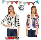 LADIES STRIPES KNITTED RETRO STYLE CARDIGAN NAUTICAL CROPPED JUMPER SWEATER TOP