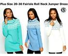 LADIES WOMEN LONG KNITTED JUMPER DRESS SWEATER SLOUCHY CHUNKY TUNIC ROLL NECK