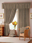 "LANA 3"" TAPE DAMASK FULLY LINED CURTAINS IN MOCHA"