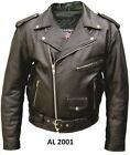 +A2001 Mens Basic Motorcycle jacket in Split Cowhide Leather with 3 front zipper