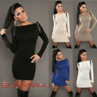 NEW SEXY WOMENS SIZE 8-10 JUMPER SWEATER MINI CLUB PARTY OFF SHOULDER DRESS TOP