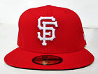 SF Giants Red On White Logo All Sizes Fitted Cap Hat by New Era